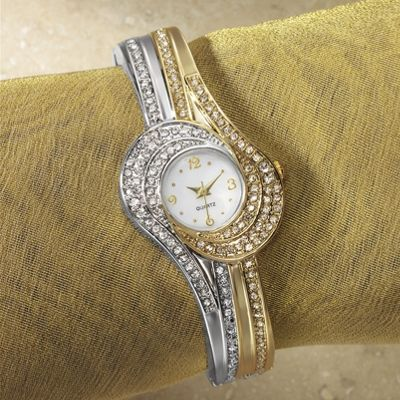 Two-Tone Swirl/Crystal Watch