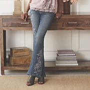 scroll embroidered jean
