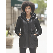 Lambskin Parka with Faux Fur Trim