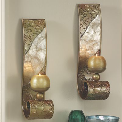 Country Wall Sconce Candle Holder : Capiz Wall Sconce Pair from Through the Country Door N869686