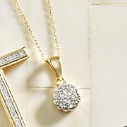 10k gold diamond cluster pendant