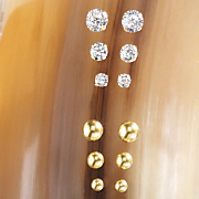 3 pair 10k gold post earring set