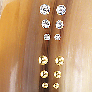 3 pair 10k gold post earring set
