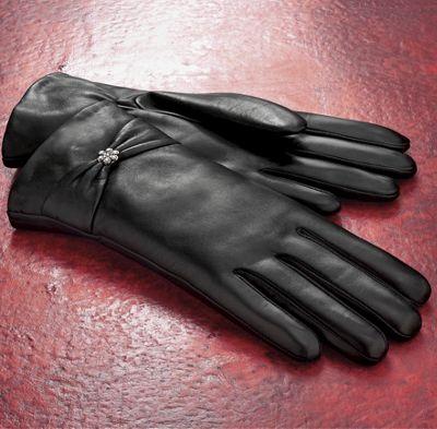 Rhinestone Accent Gloves