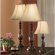 4 Piece Faux Marble Covington Lamp Set