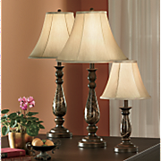 4 Piece Faux Marble Covington Lamp Set
