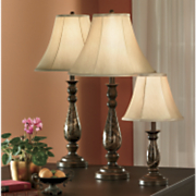 4-Piece Faux-Marble Covington Lamp Set