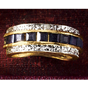 Ring Sapphire Princess With Diamond Accents