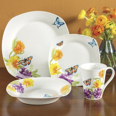 16-Piece Butterfly Garden Dinnerware Set