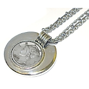Silver Mercury Dime In Silvertone Bezel With Chain