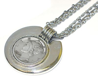 Silver Mercury Dime in Silvertone Bezel with Chain