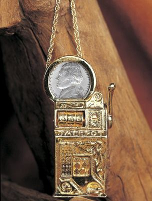 Slot Machine Pin/Pendant with Jefferson Nickel