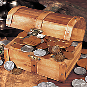 Treasure Chest With 51 Historic Coins