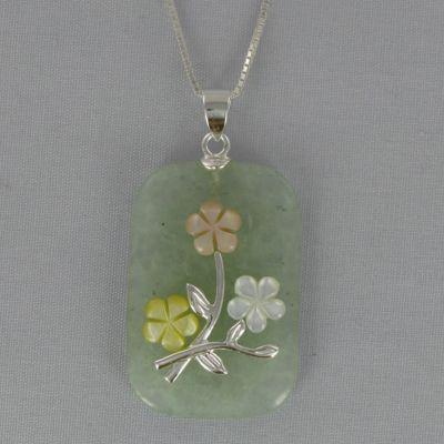Jade Rectangular Flower Pendant