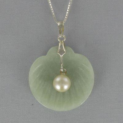Jade & Pearl Clam Pendant