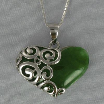 Jade Heart Scroll Pendant