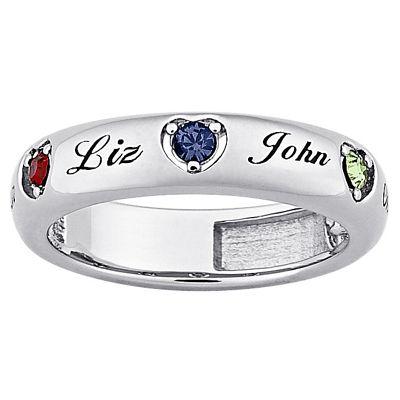 Heart Family Birthstones Ring