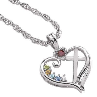 Family Birthstones Cross Pendant