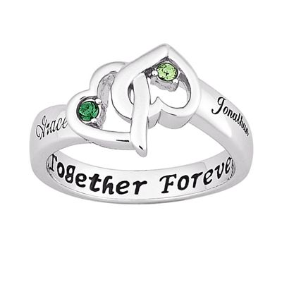 Couple's Birthstone Heart Ring