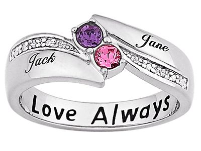 Couple's Birthstone Round Ring
