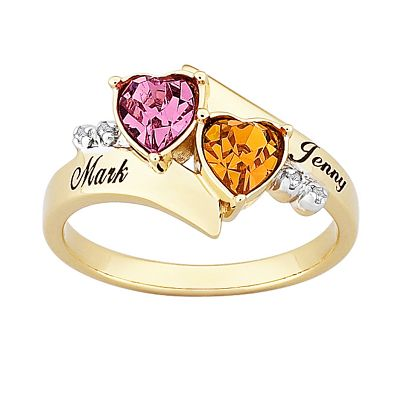Couple's Heart Birthstone Ring