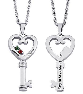 Couple's Birthstone Key Pendant