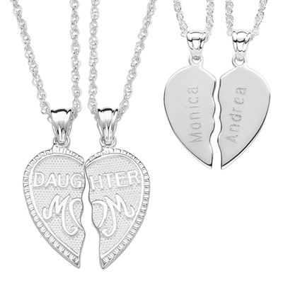 Personalized Daughter/Mom Heart Pendants