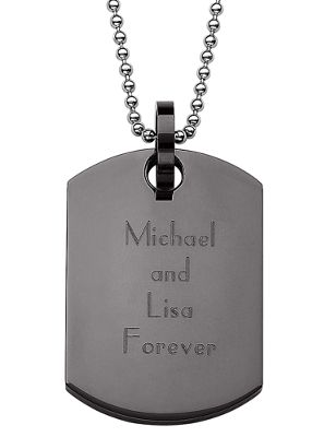 Black Personalized Dog Tag Pendant