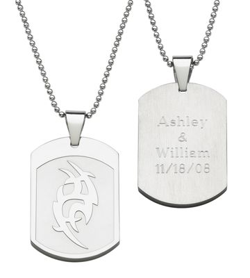 Tribal Personalized Dog Tag Pendant