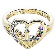 Ring Family Birthstone Lighthouse Heart