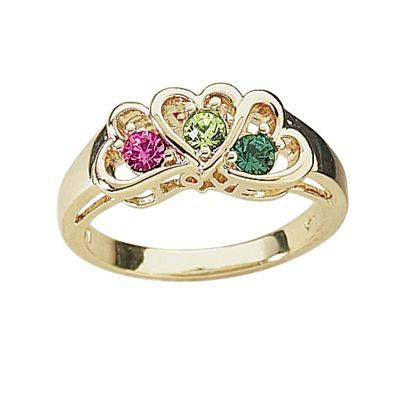 Daughter/Parents Birthstone Heart Ring
