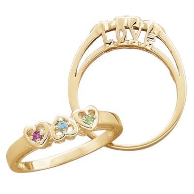 Family Birthstone I Love You Ring