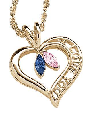 Couple's Birthstone Heart Pendant