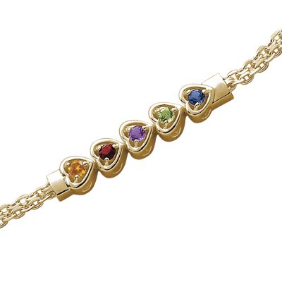 Family Birthstone Heart Bracelet
