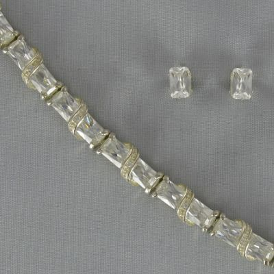 Cubic Zirconia Swirl Bracelet and Oval Post Earrings