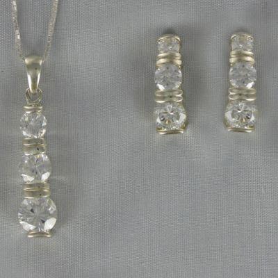 Cubic Zirconia Round 3-Stone Pendant & Earring Set