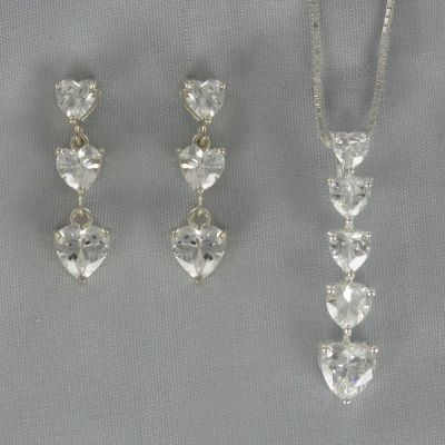 Cubic Zirconia Heart Drop Pendant & Earring Set