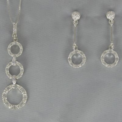 Cubic Zirconia Circle Drop Pendant & Earring Set