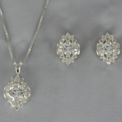 Cubic Zirconia Cluster Pendant & Earring Set