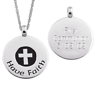 Personalized Have Faith Cross Pendant
