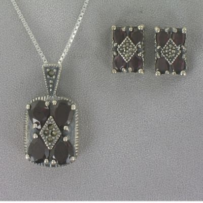Marcasite and Garnet Pendant and Earring Set