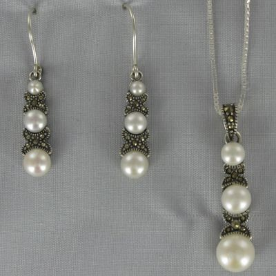 Marcasite and Freshwater Pearl Pendant and Earring Set