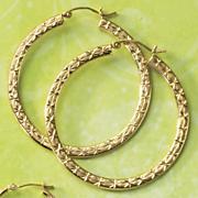 Gold Diamond Cut Flat Hoops