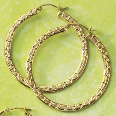 Gold Diamond-Cut Flat Hoop Earrings