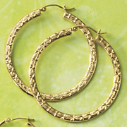 Gold Diamond Cut Flat Hoops