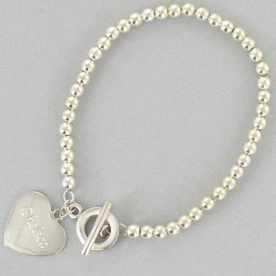 Personalized Beaded Heart Bracelet