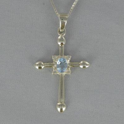 Cross Birthstone Pendant