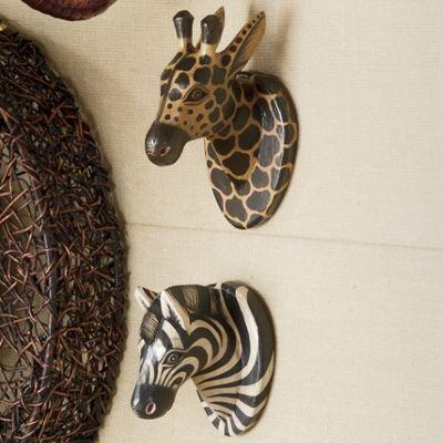 Carved Wood Safari Heads