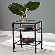 Metal Glass End Table