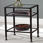 Metal Glass End Table
